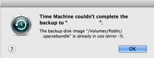 Time Machine backup is already in use popup