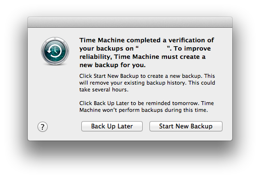 Time Machine Verification Error